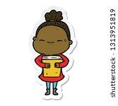 sticker of a cartoon peaceful... | Shutterstock .eps vector #1313951819