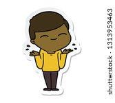 sticker of a cartoon smiling... | Shutterstock .eps vector #1313953463