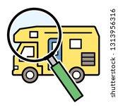 caravan and magnifying glass   Shutterstock .eps vector #1313956316