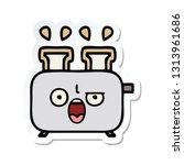 sticker of a cute cartoon of a... | Shutterstock .eps vector #1313961686
