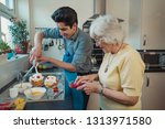 teenage boy making fruit... | Shutterstock . vector #1313971580
