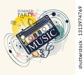 music in universe. audio type... | Shutterstock .eps vector #1313974769