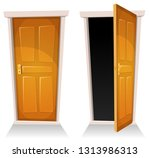 doors  closed and open ...   Shutterstock .eps vector #1313986313