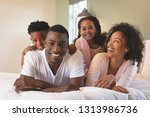front view of happy african... | Shutterstock . vector #1313986736