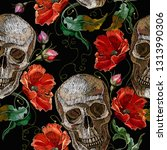 embroidery skull and red roses...   Shutterstock .eps vector #1313990306