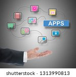 apps concept levitating above a ... | Shutterstock . vector #1313990813