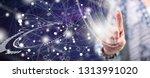 woman touching a virtual... | Shutterstock . vector #1313991020