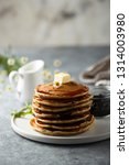 fluffy blueberry pancakes | Shutterstock . vector #1314003980