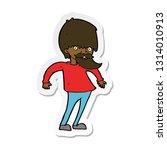 sticker of a cartoon bearded... | Shutterstock .eps vector #1314010913