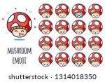 mushroom emoji sticker icon set