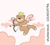 cupid teddy bear cartoon... | Shutterstock .eps vector #1314019796