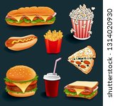 fast food items hamburger ... | Shutterstock .eps vector #1314020930
