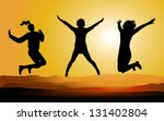 silhouette of happy jumping... | Shutterstock .eps vector #131402804