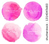 pink watercolor circle set on... | Shutterstock .eps vector #1314045683