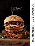 classic american beef burger.... | Shutterstock . vector #1314090509