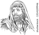 Herodotus (484-425 BC) portrait in line art illustration. He was a Greek historian and called