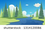 spring or summer landscape with ... | Shutterstock .eps vector #1314120086