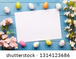 colorful easter eggs background ... | Shutterstock . vector #1314123686