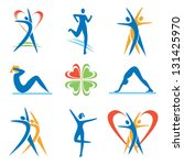 Icons with fitness and healthy lifestyle symbols. Vector illustration.