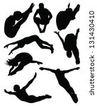 black silhouettes of diving... | Shutterstock .eps vector #131430410
