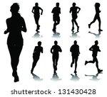 running silhouettes 4 vector | Shutterstock .eps vector #131430428