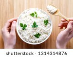 bowl with white boiled rice... | Shutterstock . vector #1314314876