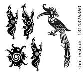 dayak tattoo set | Shutterstock .eps vector #1314326360