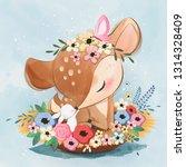 Stock vector cute spring deer 1314328409