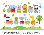 cute animals on the train | Shutterstock .eps vector #1314334943