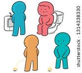 vector set of people peeing | Shutterstock .eps vector #1314338330
