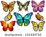 Stock vector set of colorful isolated butterflies vector illustration 131434733