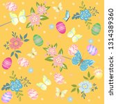 cute spring easter pattern with ... | Shutterstock .eps vector #1314389360