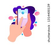 hand holding phone with message ... | Shutterstock .eps vector #1314400139