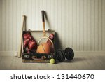 old suitcase with sports... | Shutterstock . vector #131440670