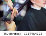 hairdresser cutting client's... | Shutterstock . vector #1314464123
