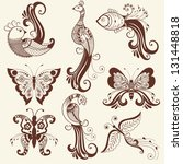 vector abstract floral elements ... | Shutterstock .eps vector #131448818