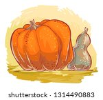 pumpkins in natural colors  ... | Shutterstock .eps vector #1314490883