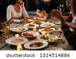 asian group eating and drinking ... | Shutterstock . vector #1314514886