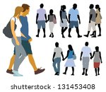A set of silhouettes, young people on a walk. - stock vector