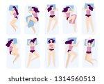 girl sleeping poses. various... | Shutterstock .eps vector #1314560513