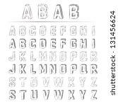 3d sketched alphabet   Shutterstock .eps vector #131456624