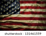 closeup of grunge american flag | Shutterstock . vector #131461559