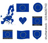 some eu flags and a map | Shutterstock .eps vector #1314630743