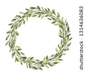 watercolor wreath. leaves frame.... | Shutterstock . vector #1314636083