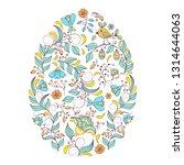 floral easter egg on white... | Shutterstock .eps vector #1314644063