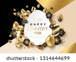 easter card with paper cut egg... | Shutterstock .eps vector #1314644699