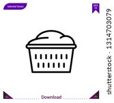 basket laundry vector icon....