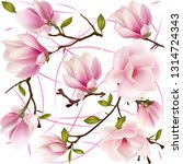 flowers and buds magnolia.... | Shutterstock .eps vector #1314724343