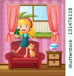 illustration of a girl and a... | Shutterstock . vector #131476118