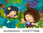 cartoon scene with caveman... | Shutterstock . vector #1314777686